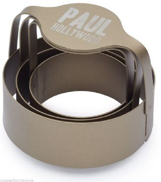 Paul Hollywood Bakeware Set Of 3 Stainless Steel Round Biscuit & Pastry Cutters